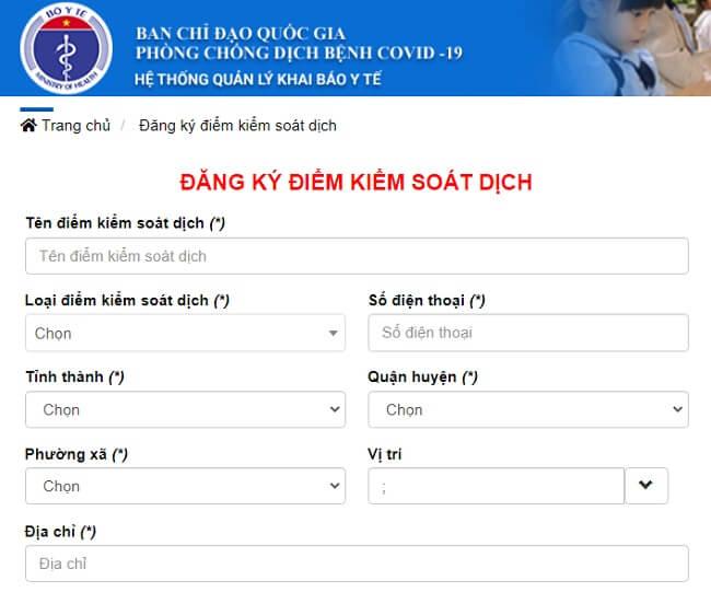 khai báo y tế bằng mã qr code