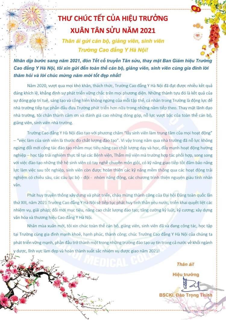 Thư chúc tết Tân Sửu 2021 của Thầy Hiệu trưởng nhà trường