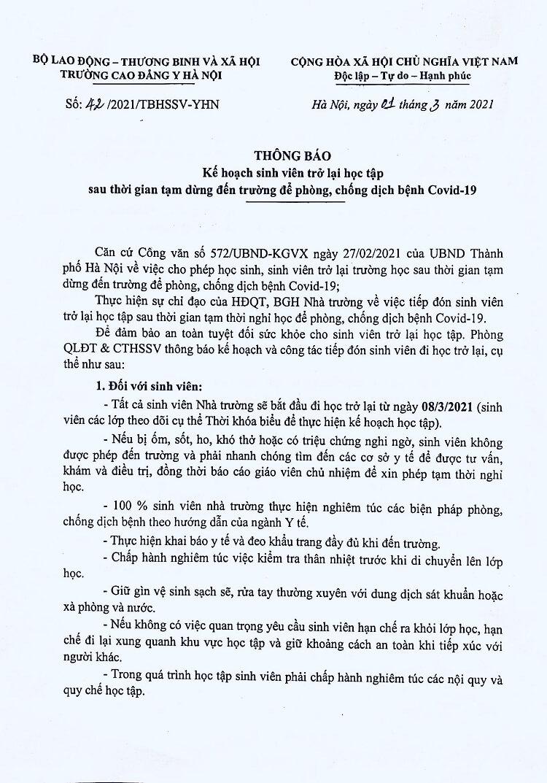 Thông báo kế hoạch trở lại học tập sinh viên K20 Trường cao đẳng Y Hà Nội